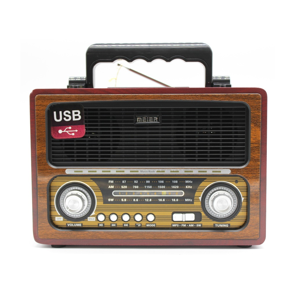 Portable Classic Wooden Retro AM/FM /SW 3 Band BT wireless Radio MD-1800BT with USB/SD/TF card