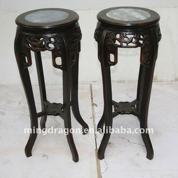 Chinese Antique Beautiful Carved Elm Plant Stand Table / Display Stand