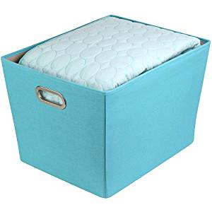 Honey Can Do Large Decorative Storage Bin with Handles, Sky Blue