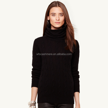 Long Neck Black Warm Cable Knit Cashmere Sweaters For Women - Buy ...