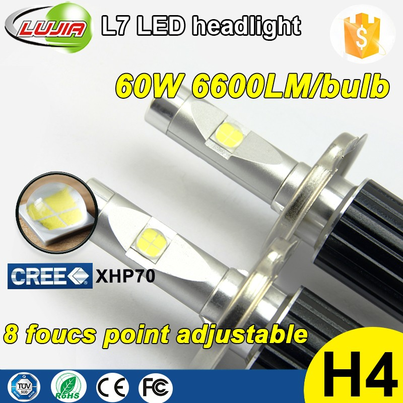 2017 L7 H4 6V-48V led headlight bulb , canbus xhp70 kit led 6000K 4300K