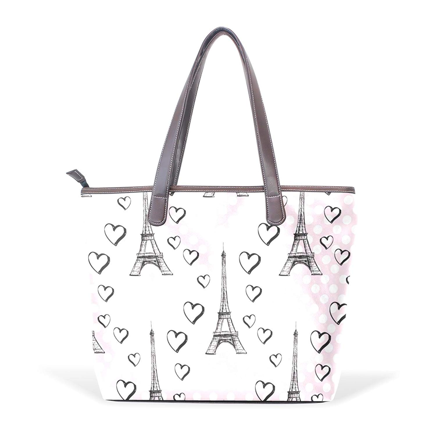 4fd5c52b95aa Get Quotations · Dragon Sword Paris Eiffel Tower With Hearts Women Handbags  Hobo Shoulder Bags Tote PU Leather Handbags