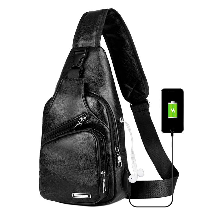 custom black waterproof design cross body leather men chest bag single shoulder