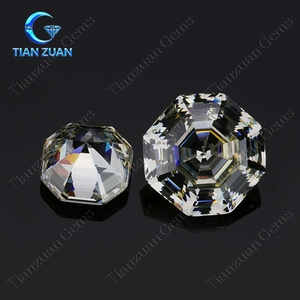 Machine cut white color octagon shape loose Cubic Zirconia stone made in CZ