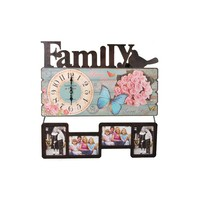 fancy western style nice vintage wooden family wall clocks with funny photo frame