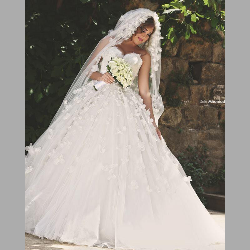 Romantic White Ball Gown Wedding Dresses 2016 Sweetheart