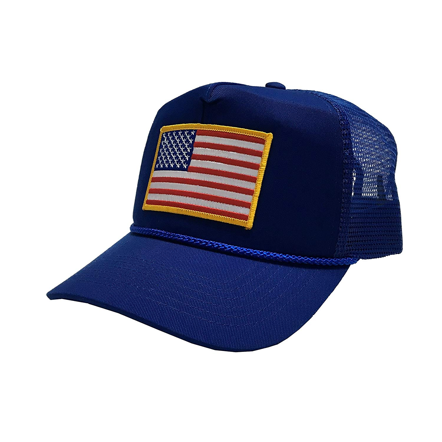 P&B USA Flag Embroidery Patch United States of America Adjustable Mesh Unisex Adult Cap 4th of July Patriotic Hats