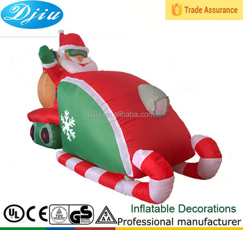 Christmas Inflatable Santa Claus Sack Driving Snowmobile Sleigh Sled  Indoor/Outdoor Decoration