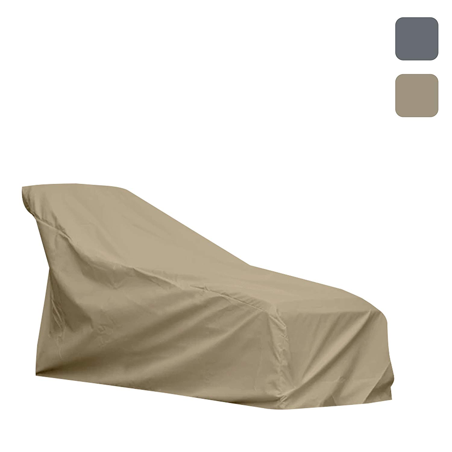 Patio Chaise Lounge Cover- Waterproof, Air vents, 100% UV-Resistant, 1000 D Both Side PVC Coated, Outdoor Furniture Chaise Covers with Drawstring for Snug fit to Withstand Winds & Storms, Beige