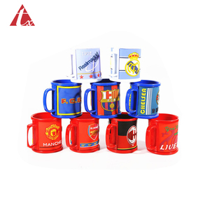 Tuoxin plastic product factory customize wholesale any shape logo 3D Rubber pvc mug cup plastic Soft Pvc Mug soccer team mugs