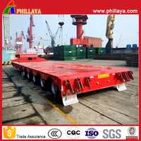 Heavy Duty 5 Axles Low Platform Flatbed Lowbed Truck Semi Trailer With Loading Deck Height Optional
