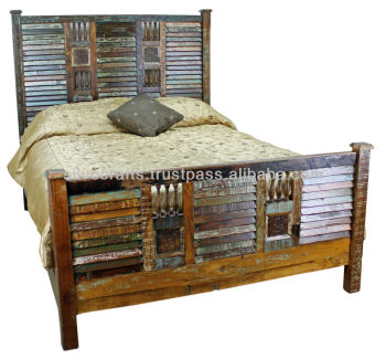 reclaimed wood bedroom set. Indian Antique Reclaimed Wood Rustic Style King Size Bed (Reclaimed Bedroom Furniture) Set I