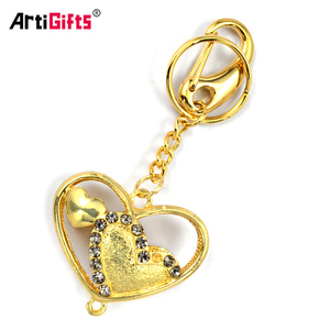 Custom Metal Gold Jewelry Diamond Keyring Heart Rhinestone Keychain
