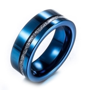 2017 New Tungsten Ring Mens Blue Black Wedding Band Factory Price