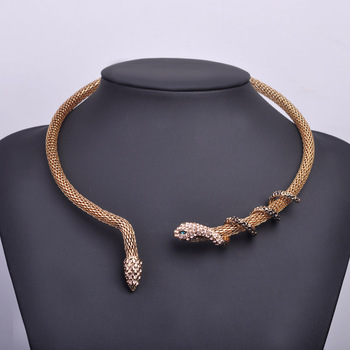 Brand Bijouterie Wild Sexy Steampunk Indian Jewelry Accessories Snake Shape Choker Necklace