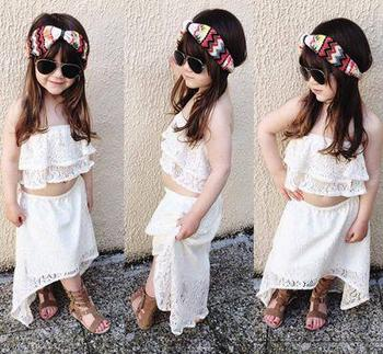 87eecf00cc335 girls lace off shoulder top two piece outfit ins baby girl clothes sets  kids white shirt