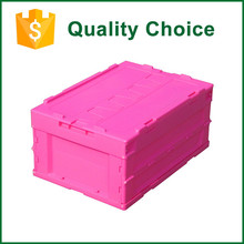 Recyclable Stackable Plastic Folding Crates With Lid For Supermarket