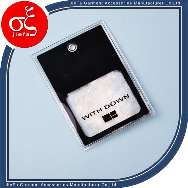 wholesale soft pvc tags down feather label with feather for feather dress