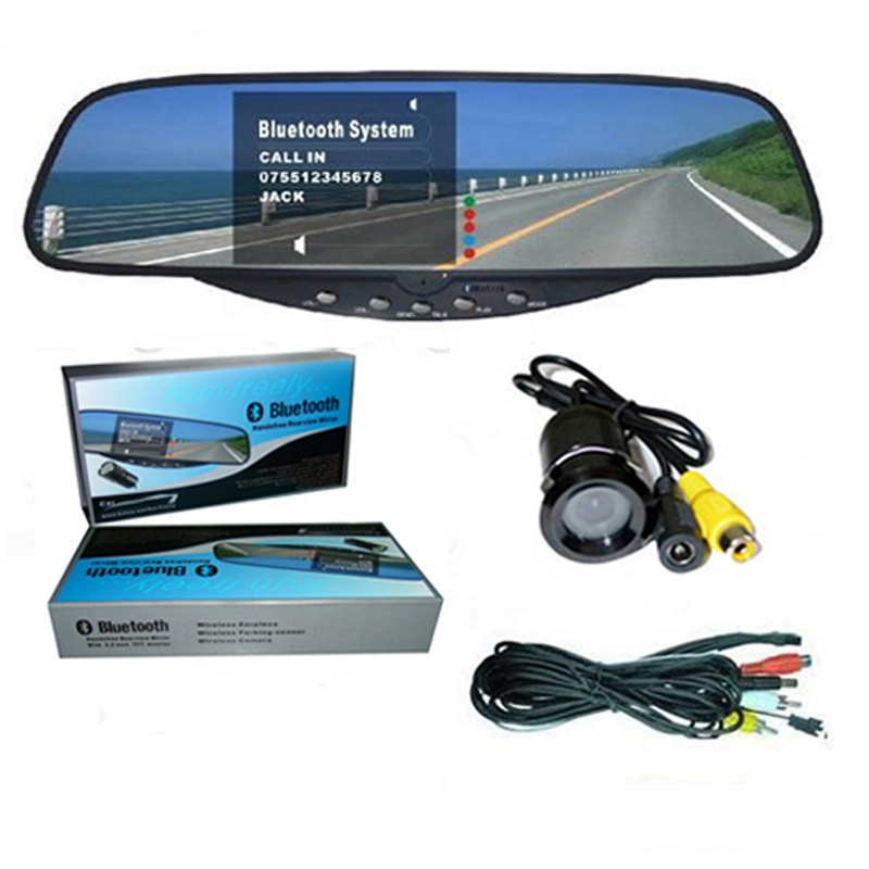 Car Bluetooth Handsfree Rearview Mirror Parking Sensor System Car Wireless Rearview Camera System