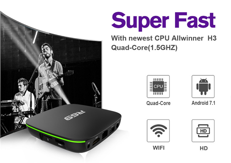 Android 7.1 TV Box R69 Allwinner H3 1g 8g Receiver Full HD Video Android Magic Android Quad Core