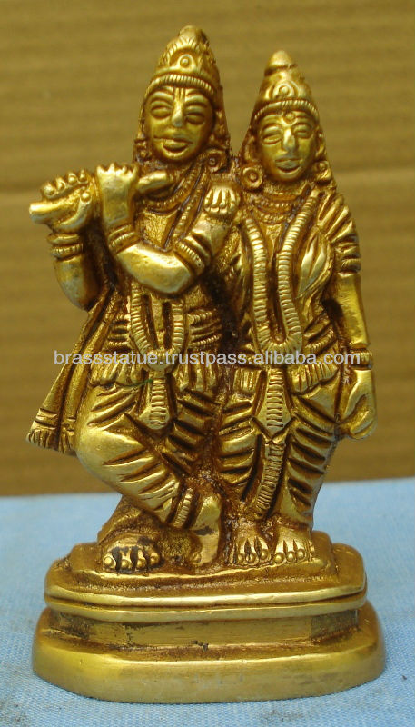 Hindu God Of Love Radha-Krishna Brass statue for Home temple & gift