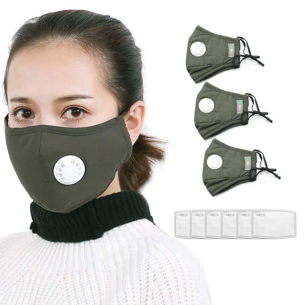 d69242890bb Get Quotations · Tcare PM2.5 Anti Pollution face Mask Dust Respirator  Washable Reusable Masks Cotton Unisex Mouth