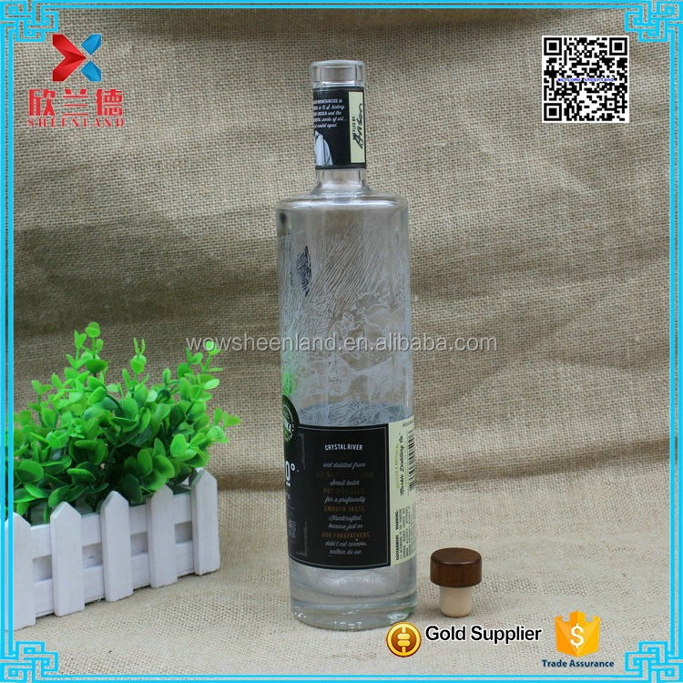 2017 Cheap price fancy glass liquor bottle 750ml vodka glass bottle