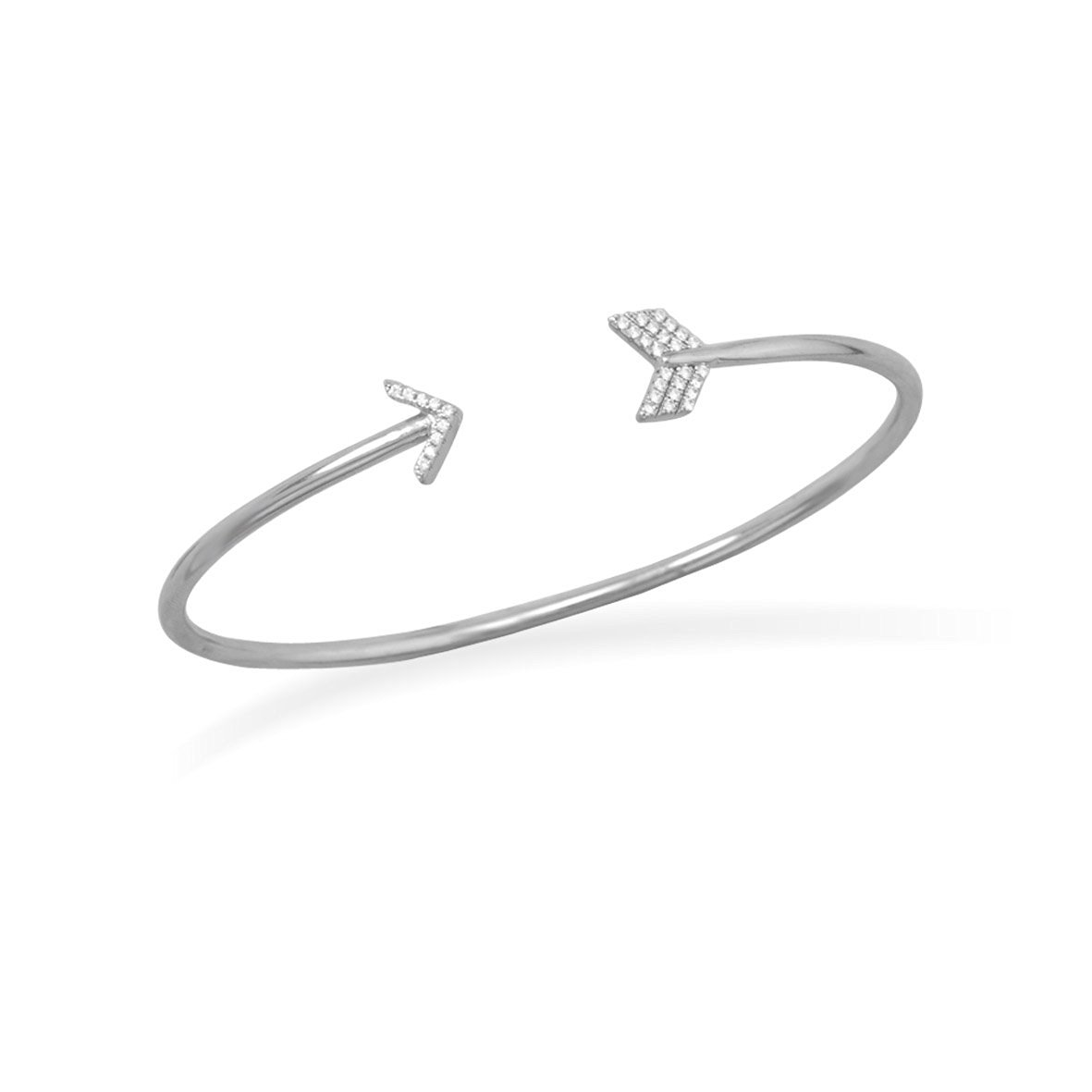925 Sterling Silver Rhodium Plated Arrow Cuff Bracelet With Signity Czs