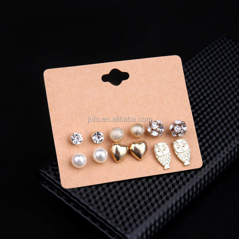12 pairs/Set Women Gold Earrings Set Crystal Stud Earring Beads Pearl Owl Ball Charm Ear Jewelry