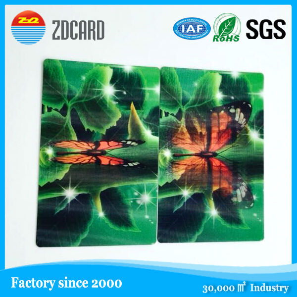 high quality promotion customized plastic card 100lpi 3d lenticular