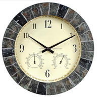 14-inch Faux Slate Outdoor Wall Clock with Thermometer and Humidity display