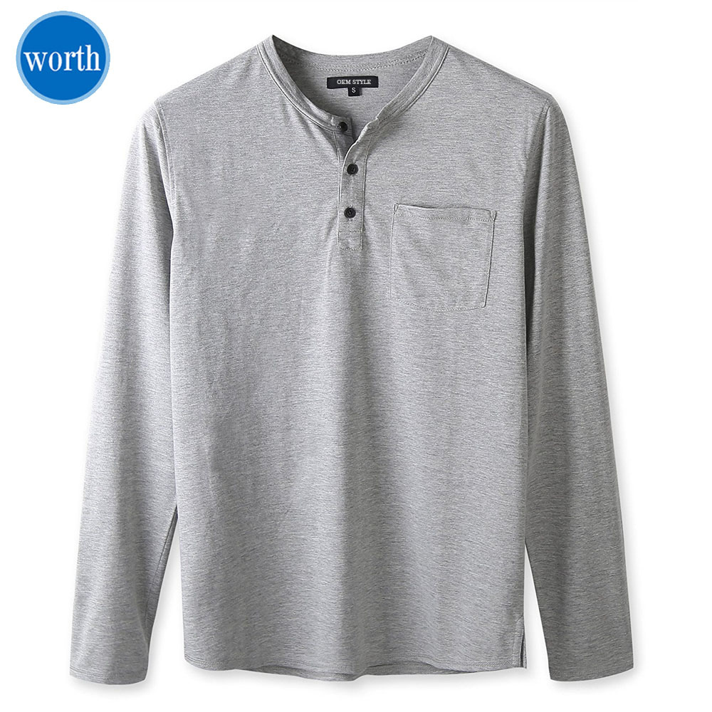 Henley Shirt Men's Long Sleeve Navy Style Custom Label Service Available