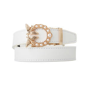 Korean Fashion Gold Buckle Diamond Decorative Women Waistband Leather Belt