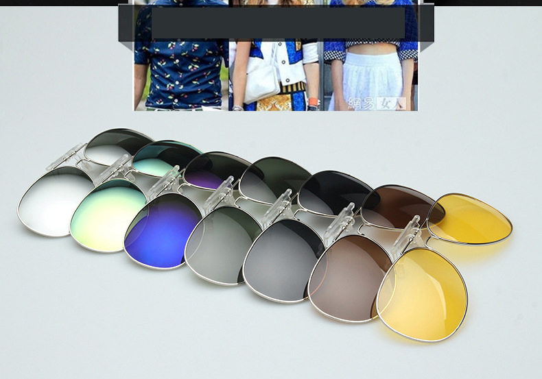 2015 New Polarized Clip On Sunglasses Driving Night Vision Lens Sun Glasses Anti-UVA Anti-UVB For Women & Men CC0131