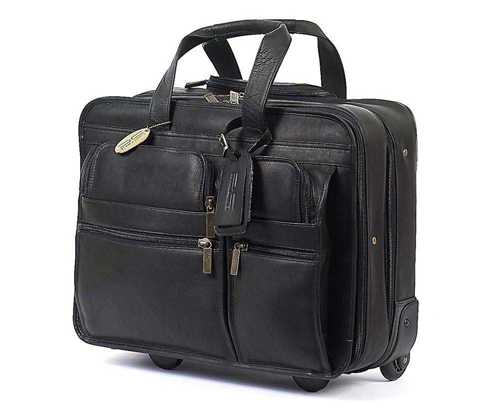 cd562120eb40 Claire Chase Leather Rolling Computer Briefcase
