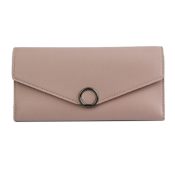 trendy candy colour matte pu leather long women wallet