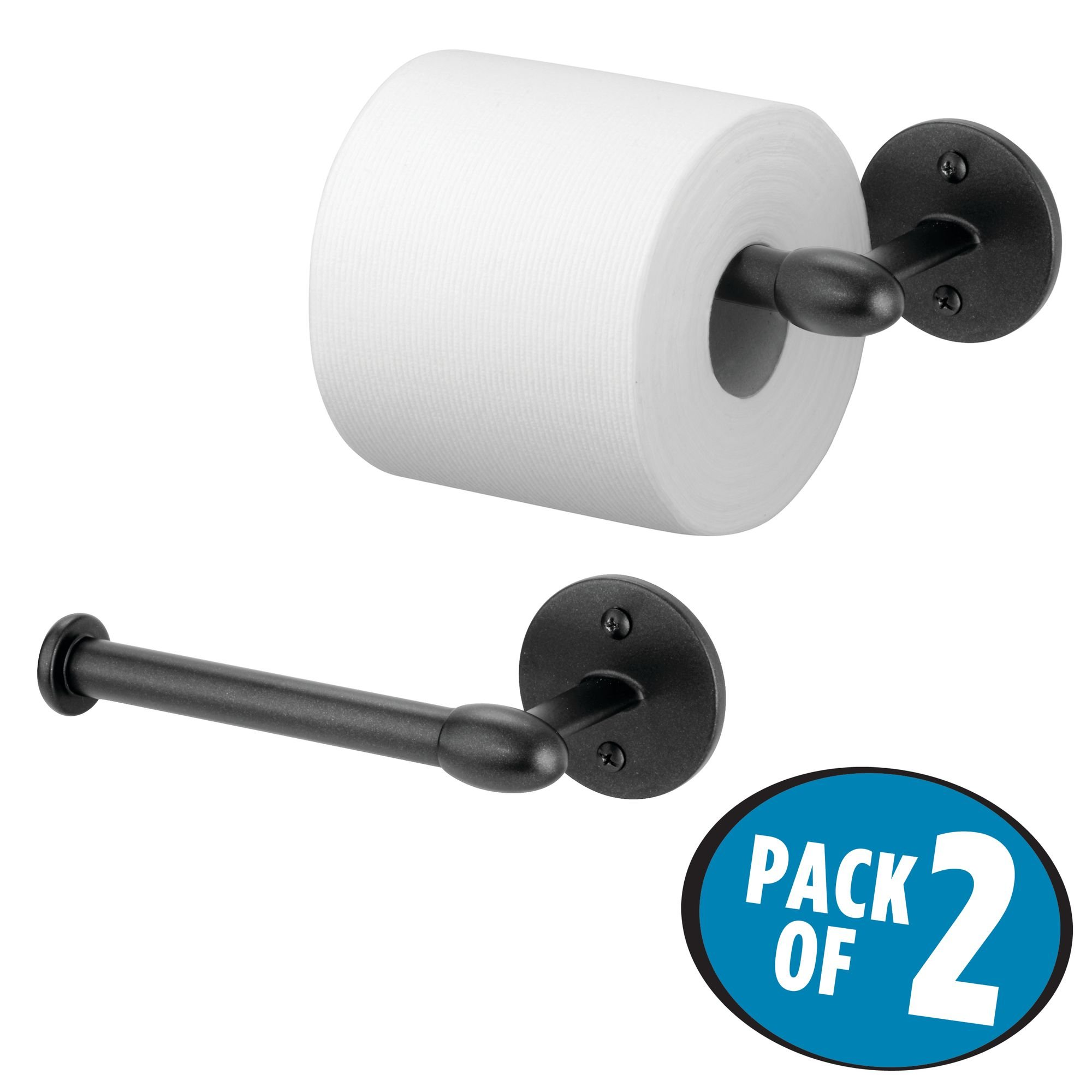 mDesign Wall Mount Toilet Tissue Paper Roll Holder and Dispenser for Bathroom Storage - Wall Mount, Holds and Dispenses One Roll, Mounting Hardware Included - Pack of 2, Strong Metal in Matte Black