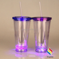 Hot New Product 450ML Glitter Plastic Cup With Straw Glitter Tumbler Customize Logo Led Cup