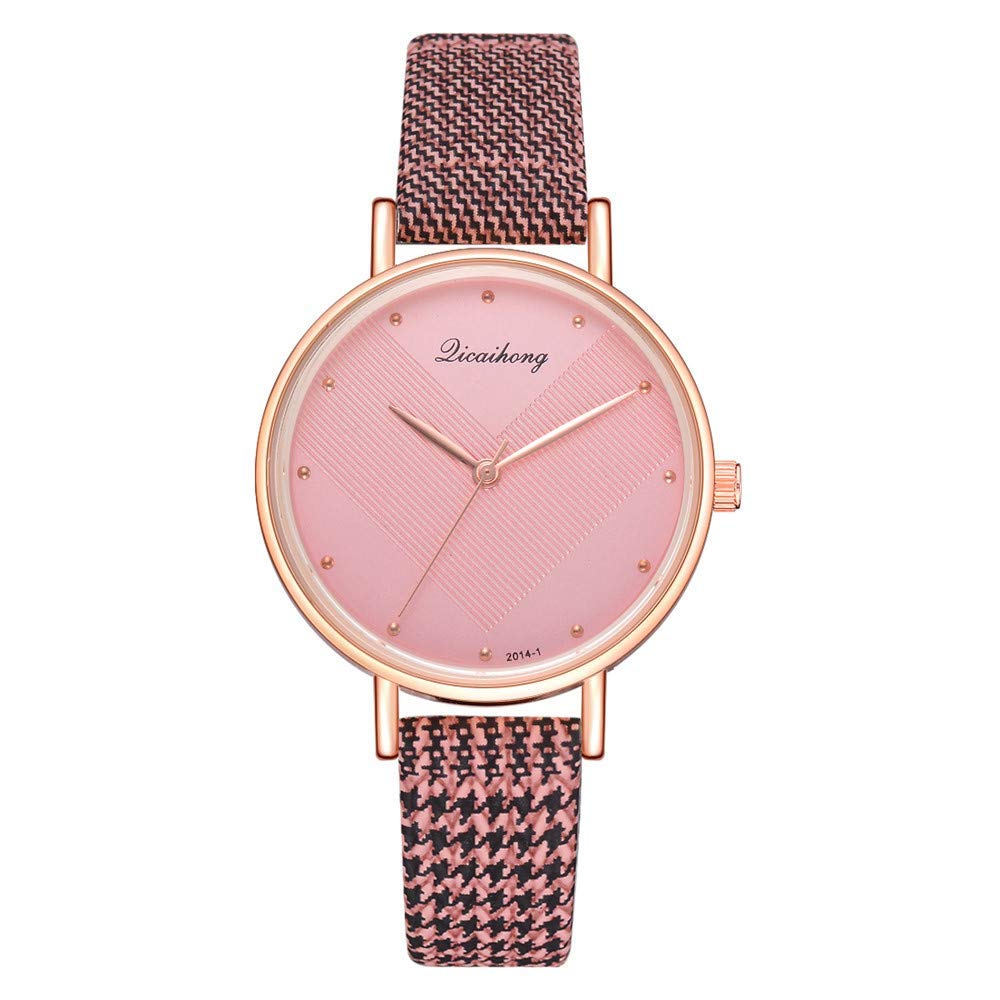 AKwell Women Leather Imitation Pattern Quartz Analog Wrist Watches Classic Round Watch