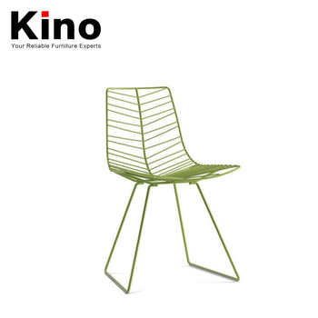 Green Color Leaf Design Chair, Outdoor Powder Caoting Metal Chair, Modern  Metal Dining Chair