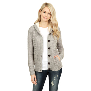 Wholesale Fleece Hooded Button Down Cardigan Sweater