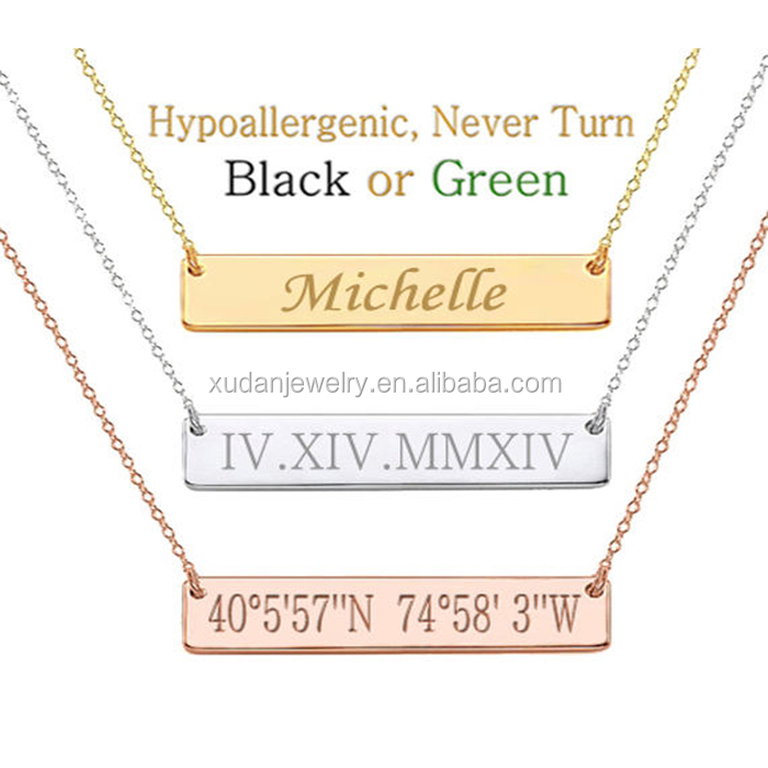 Roman Numeral Wedding Date initial Necklace, Custom cheap monogram Bar necklace