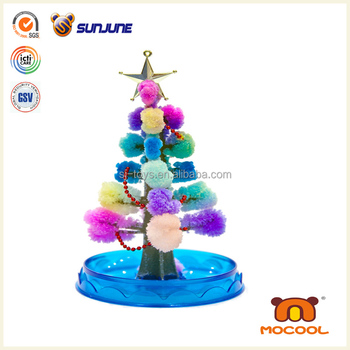 DIY children toy, colorful christmas tree educational kids toys, magic crystal growing paper for christmas desk decoration