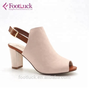 Beige high top sling back mid heel peep toe chaussure femme sandals women shoes