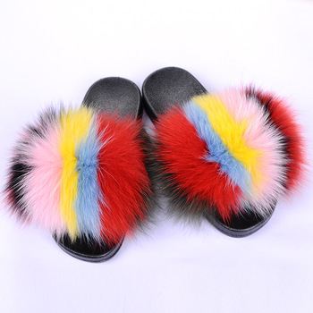 Top Quality Real Fox Fur Slippers Women