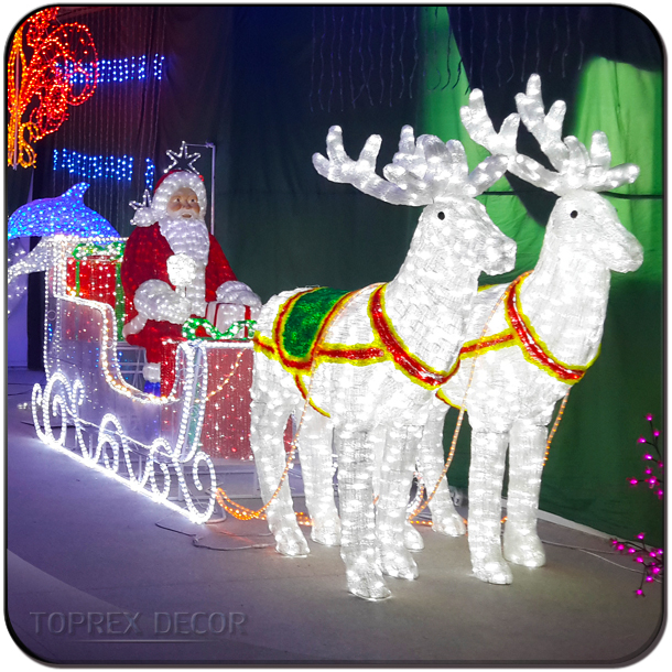 Life size carriage 3d christmas reindeer lights outdoor santa claus