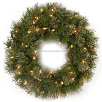 24-inch artificial Prelit PVC Decorative Christmas Wreath with 50 Clear Lights