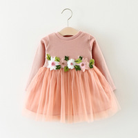 1PC Flower Girls Fashion Knitted Dresses Cute Infant Baby Long Sleeve Pink White Tutu Ball Gown Dress 0-3Y