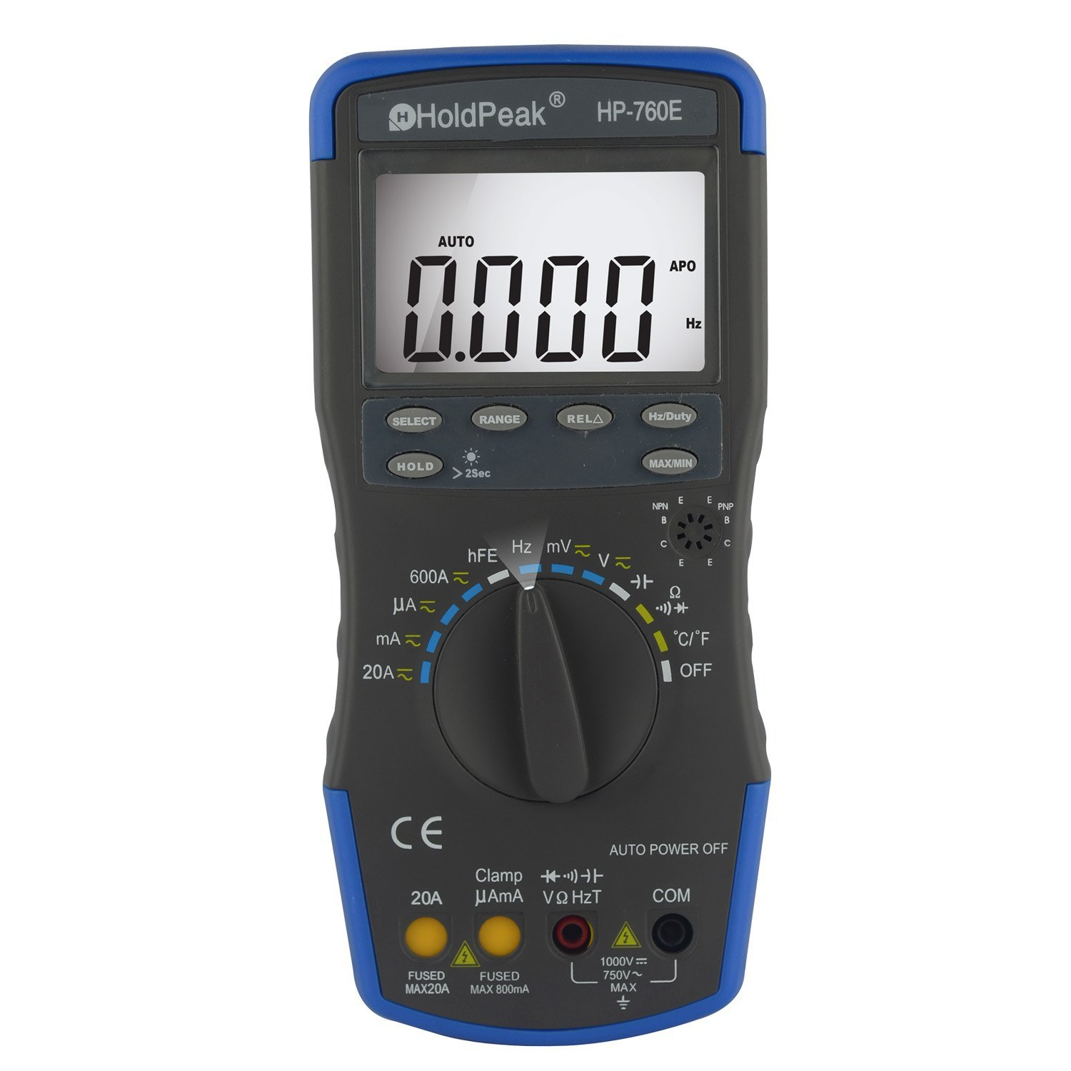 HoldPeak HP-760E Auto Ranging Digital Multimeter Meter with Min Max Value/Duty Cycle/Frequency/Temperature Test and Carry Bag