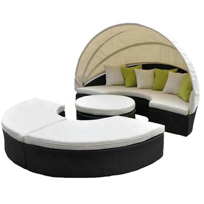 מפעל מותאם אישית ישיבה טרקלין 4 חלק בשכיבה עמיד להפוך up עגול ספה מיטת שיזוף עם אוהל 2018 עיצוב חדש ריהוט